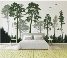 Paper House Small Australia - 3D wallpaper custom photo silk mural wall paper Small fresh modern minimalist dark green wood Nordic TV background wallpaper for walls 3d