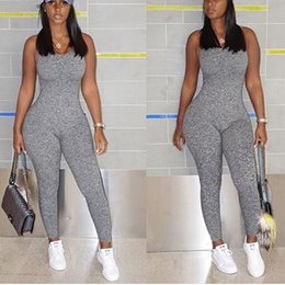 66c56ed3cfc Hot Sale Grey Jumpsuits Romper Women Casual Solid Women Sleeveless Hollow  Out Backless Regular Ladies Jumpsuits