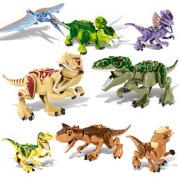 building figures Canada - Jurassic Action Figure Dinosaurs World Velociraptor Tyrannosaurs Rex Pterosauria Building Blocks Toys for Children ZM307 11