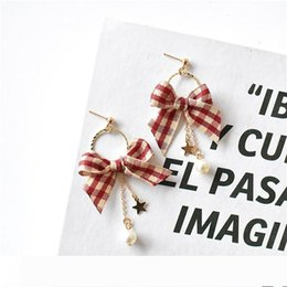 styling earring NZ - DHL Simple Bow Style Earrings Women Creative Cool Versatile Plaid Hong Ventilation Network Red Ear Stud free shipping