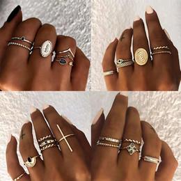 Black knuckle rings online shopping - 5PCS Big Moon Boho knuckle Rings for Women Turkish Vintage Jewelry Black Resin Gold Geometric Midi Finger Ring Set