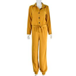 Women Fashion Jumpsuit UK - Women Spring Autumn Fashion Jumpsuits 2019 New Arrival Womens V-neck with Button Belt Full Length Pants Jumpsuits Women Casual Rompers