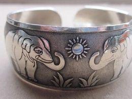 $enCountryForm.capitalKeyWord Australia - bracelet 912+++New Tibetan Tibet Silver The sun Elephant Bangle Cuff Bracelet
