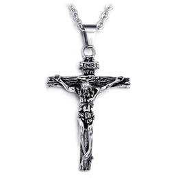$enCountryForm.capitalKeyWord Australia - Mens Crucifix Necklace Stainless Steel Jesus Christ Cross Religious Christian Pendant Jewelry for Men Women Catholic Jesus Cross Pendant
