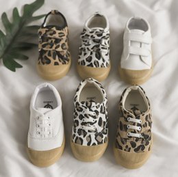 wholesale canvas shoes NZ - Fashion kids shoes boys girls leopard grain canvas casual shoes preppy style children non-slip running shoes 2019 spring boys sneakers F4187