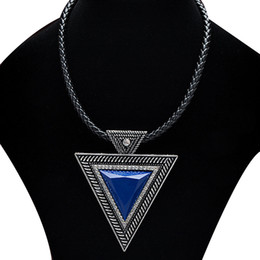 $enCountryForm.capitalKeyWord Australia - Fashion Exaggerated Leather Black Triangle Choker Necklaces Pendant Sweater Chain Rhinestones Fashion Jewlery For Women