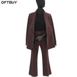 Discount office jackets for ladies - OFTBUY 2019 Spring Fall Nine Pant Suits for Women Office Sets Blazer Long Sleeve Ladies Suits Jacket Streetwear Double B