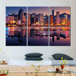 $enCountryForm.capitalKeyWord NZ - 3 sets canvas prints hong kong buildings bay sunset painting wall pictures for living room decoration
