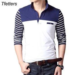 $enCountryForm.capitalKeyWord Australia - Tfetters Spring Autumn Casual Men Long Sleeve T-shirt Cotton Elastic Slim Fit Dress T Shirt Men V-neck Stripe Men Tops & Tees J190612