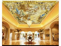 custom carvings Australia - Custom 3D large zenith mural photo wallpaper HD European color carving pattern figure oil painting hotel hall zenith ceiling mural