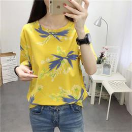 T Shirt Woman Korea Australia - New Korea 2019 Summer tshirt BF Casual Yellow Print College Short Sleeve Basic T-shirts Ladies T Shirt Harajuku Women Top Tshirt