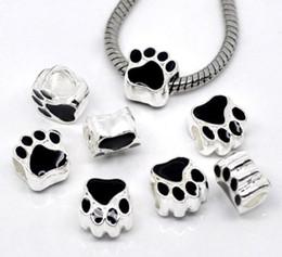 12mm Bearing Australia - 12MM Silver Plated Black Enamel Bear's Paw Charm Bear Paw Footprint Beads Bear Paw Big Hole Beads Charms Fit European Bracelet