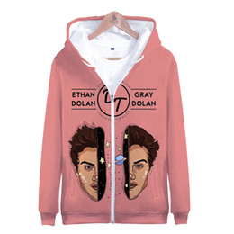 Cool Sweatshirt Jackets Australia - New Funny 3d Fashion Cool Hip Hop Dolan Twins Men Women Zipper Hoodies Jacket Top Casual Long Sleeve Zip Up 3D Hooded Sweatshirt