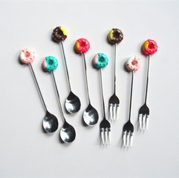 $enCountryForm.capitalKeyWord Australia - 3styles Stainless Steel Doughnut Flatware Spoon Donut forks Coffee Dessert Spoon Stir bar Tea Ice Cream Candy Kitchen Tableware FFA2328