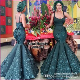 Satin Spaghetti online shopping - 2020 New Dark Green Mermaid African Evening Dresses Spaghetti Hand Made Flowers Beaded Prom Dress Dubai Formal Party Bridesmaid Gowns