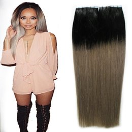 gray black hair extensions 2020 - Black And Gray Tape In  On Hair Extensions Ombre Color skin weft tape In Human hair extensions Gray 100g Virgin StarginB