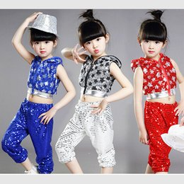 flash dancing Australia - silver red yellow children girl boy performance flashing paillette sequins star Hip hop Jazz modern dance costume suit pants