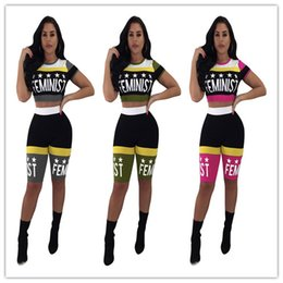 Sexy Suits T Australia - Women Sexy Tracksuit 2019 Summer Stars Printing Expose Navel Short T-shirt+shorts Two Pieces Sportswear Suit Nightclub Clothing Hot K8616