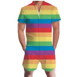Wholesale gold jumpsuit men resale online - New Pride Romper Summer Drink Beer Rainbow Men Romper D Graphic Casual Zipper Jumpsuit Overalls USA Flag Beach Men s Set