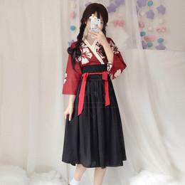 kawaii style clothing 2019 - Japanese Kawaii Girls Style Kimono Dress for Women Floral Print Vintage Party Asian Clothes Vestidos Japan Yukata discou