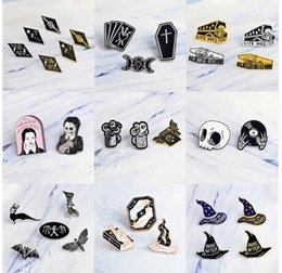 Magic Black Coating Australia - Punk dark black Brooch Witch Magic skull vampire Button Pins Denim coat Pin Badge Gothic Jewelry Gift