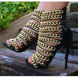 $enCountryForm.capitalKeyWord Australia - 2019 fashion high heels sandals for woman party women's sandals black snake leather gold chain decoration 11cm high heels
