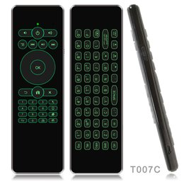 air mouse android ir Canada - Backlight Air Mouse Ultra-thin with Mic Voice Remote Control 2.4G IR Learning Wireless T007 Mini Keyboard for Android TV Box mini PC