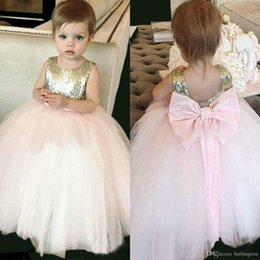 cheap feather balls NZ - Cute Pink Flower Girl Dresses for Wedding with Gold Sequins Tulle Ball Gown Kids First Communion Dress Cheap Pageant Dresses