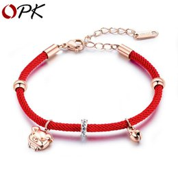 String braceletS roSe gold online shopping - Lucky Zodiac Pig Accessories Handmade Rose Gold Lady Bell Red String Bracelet Full Diamond Circle Personality Creative Gold Plated Jewelry