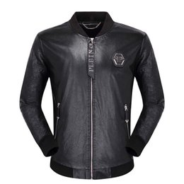 Wholesale locomotive leather for sale - Group buy 2019 Men Locomotive Coat Leisure Leather Jackets Zipper Casual Winter Fashion Top Jacket Animal Embroidery Outerwear Men s Clothing