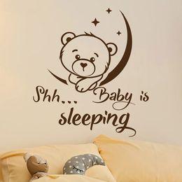 "$enCountryForm.capitalKeyWord Australia - Vinyl Wall Stickers Mural ""Shh Baby Is Sleeping"" Moon And Stars Cute Bear Kids Room Decoration Nursery Bedroom Decor"