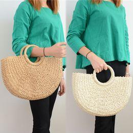 Discount wholesale summer beach bags totes - 2019 New Summer Women Handmade Bags Women Pompon Beach Weaving Ladies Straw Bag Wrapped Beach Bag Moon Shaped