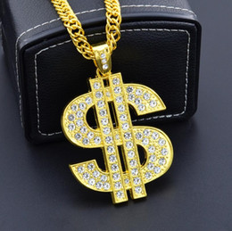 $enCountryForm.capitalKeyWord Australia - New hip-hop night club exaggerates golden chain US dollar symbol golden necklace fashion personality pendant for men and women hot 5pcs