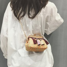 candy hit NZ - Designer-British Fashion Handbags 2019 New High Quality Weaving Women Bag Tassel Hit Color Shell Bag Chain Shoulder Bags Crossbody Bag