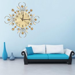 $enCountryForm.capitalKeyWord Australia - Vintage Metal Art Wall Clock Luxury Diamond Large European Cocks Needles Watch Morden Flower Design Home Decor Accessories