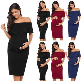 $enCountryForm.capitalKeyWord Australia - Women pregnancy clothes maternity dresses for plus size ruffles pregnant dresses summer wear fashion style womens elegant off the shoulder