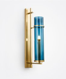 gold wall lighting NZ - Creative Design Wall Sconce Lighting Blue Glass Lampshade Wall Lamp Gold Bronze LED Wall Light Fixture For Bedroom