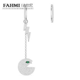 sapphire studs earrings UK - FAHMI 100% 925 Sterling Silver Asymmetric Silver 'Pac' Earrings AE11015XKG High Quality Women's Jewelry Free Shipping