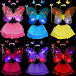 $enCountryForm.capitalKeyWord NZ - 4pcs set LED Flash Fairy Princess Kids Girls Costume for Halloween Party Butterfly Wings Wand Headband Tutu Skirt Children Stage Wear