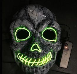 Cow Masks Australia - New Halloween skull mask el cold light glowing mask V word cow demon horror mask