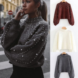 Wholesale sweater pearls knitwear for sale - Group buy Fashion Luxury Women Winter Pearl Knitted Sweaters High Quality Casual Chunky Loose Sweater Pullover Knitwear Blouse Shirts outwear