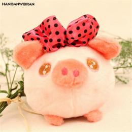 Cute Pig Pendant Australia - HANDANWEIRAN 1Pcs PP Cotton New Kawaii 10CM Cartoon Bow Pig Stuffed Toys Cute Sucker Pendant Gift Doll Explosion Plush Toy Party