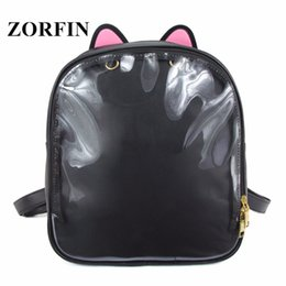 Cute Teenage Girl Backpacks NZ - ZORFIN Ita Bag Women Clear Bag Cute Cat Transparent Backpack Harajuku School Bags For Teenage Girls Kids Travel Backpacks Y18120601