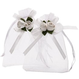 $enCountryForm.capitalKeyWord Australia - 3.9X4.7 Inches Sheer Organza Wedding Favor Gift Bags White Rose Drawstring Pouches, Pack Of 50