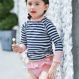 one piece toddler swimwear Australia - Girl Two Pieces Swimsuit For Hot Springs Striped Swimsuit Girl Toddler Baby Long Sleeve Sunproof Swimwear Children Kids Swimsuit Y19072601