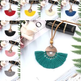 wholesale hockey necklaces NZ - Free DHL Charm Bohemian Ethnic Tassel Necklace Fashion Fan-Shaped Jewelry Long Leather Rope Sweater Pendant Chain Accessories H784F Y
