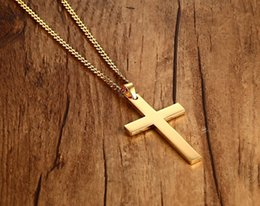Necklaces Pendants Australia - Man Pendant necklace Hip Hop Gold silver cross Pendant Jewelry mens necklace stainless steel with iced out chains stainless steel jewelry