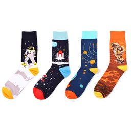 adc19cff9137 Men's Fun Dress Socks-Colorful Funny Novelty Crew Socks Spaceman pattern