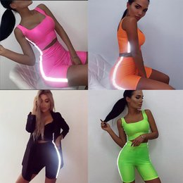 $enCountryForm.capitalKeyWord UK - Women sport Two Piece set Reflective strip Tracksuits Summer Sexy Sling Crop Top Biker Shorts Yoga Fitness Gym Club Running Suits clothes