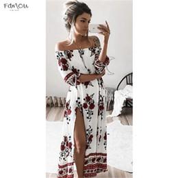Women beach designer dresses online shopping - Sexy Women Dress Off Shoulder Floral Print Maxi Boho Long Dress Beach Party Dress Womens Slash Neck Long Summer Dresses Designer Clothes